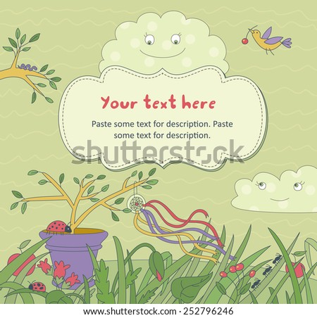Summer Floral Background With Frame for text - stock vector