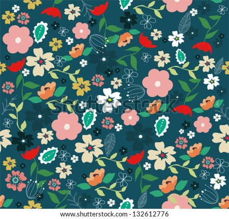 Summer floral garden seamless pattern. - stock vector