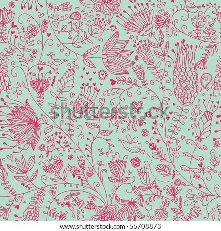 Summer floral seamless pattern for cute wallpapers - stock vector