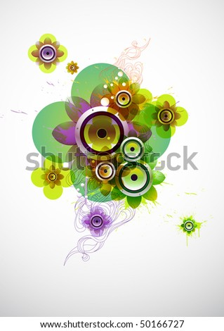 Summer flower composition with loudspeaker - stock vector