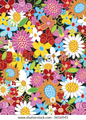 summer flower power (vector) - illustrated object / background - stock vector
