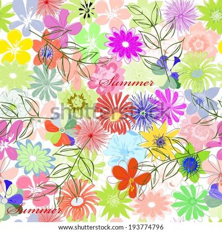 Summer flower seamless pattern background - stock vector