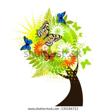 Summer flowering tree - stock vector