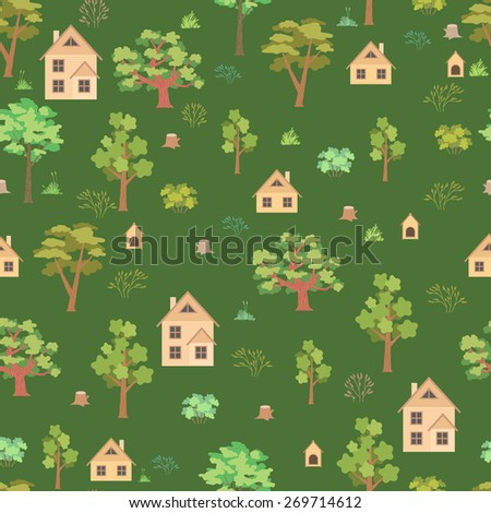 Summer forest house seamless pattern on green background