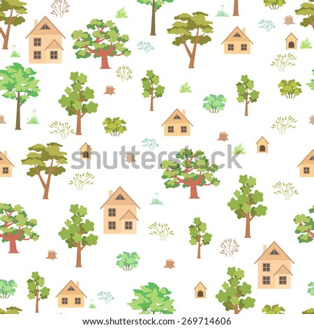 Summer forest house seamless pattern on white background