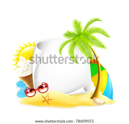 Summer frame, vector - stock vector