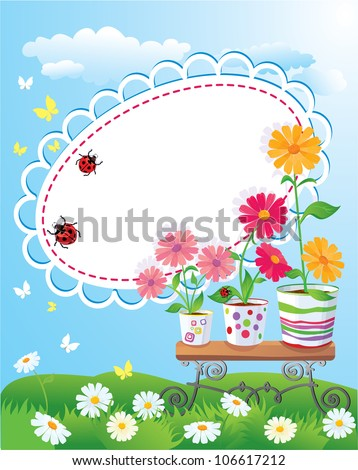 Summer frame with flowers in pots, ladybirds and butterflies - stock vector