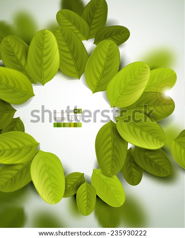 summer frame with fresh green leaves  - stock vector