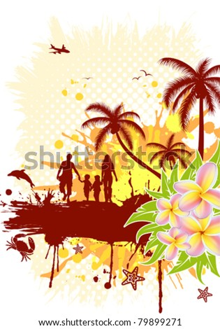 Summer frame with palm tree, dolphin, crab, family, vector illustration