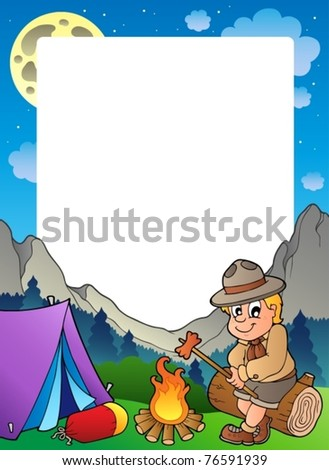 Summer frame with scout theme 3 - vector illustration. - stock vector
