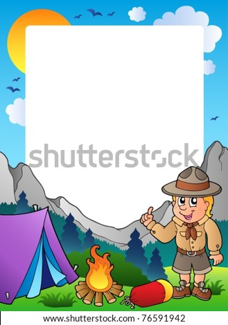 Summer frame with scout theme 1 - vector illustration. - stock vector