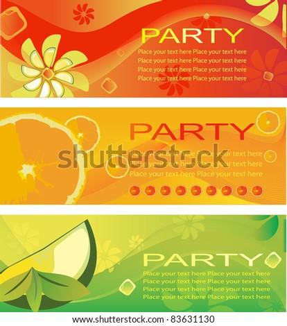 summer fresh party invitation - stock vector