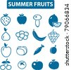 summer fruits icons, signs, vector illustrations - stock vector