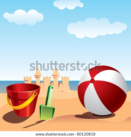 Summer fun - sea beach background - stock vector