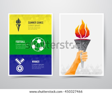 Summer games banner template, A4 size, vector illustration - stock vector