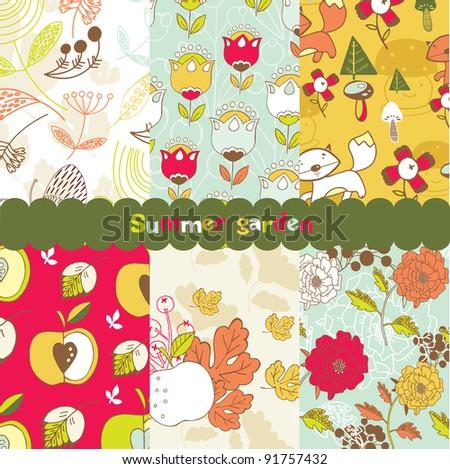 summer garden seamless backgrounds - stock vector