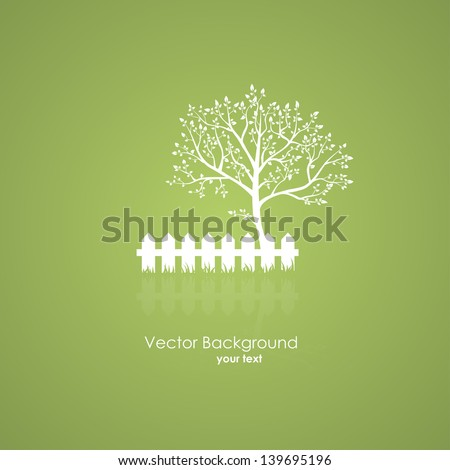 Summer garden with a tree and a light fence. Vector icons on a green background - stock vector