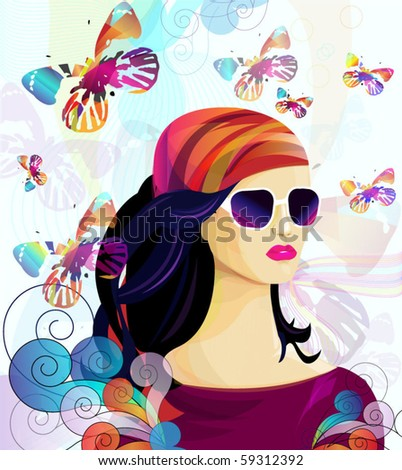 summer girl with colored butterfly - stock vector