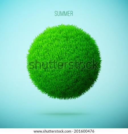 Summer grass circle shape concept eps10 vector illustration - stock vector