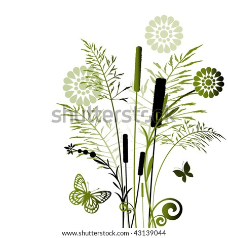 Summer grasses in green - flowers and butterflies - stock vector
