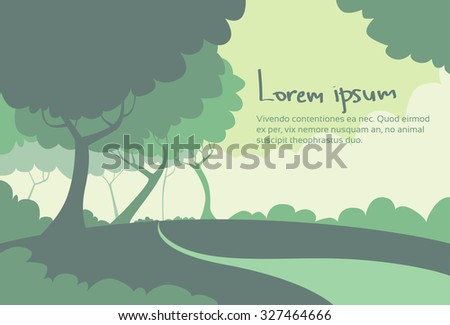Summer Green Landscape Forest Tree Silhouettes Flat Retro Woods Vector Illustration - stock vector