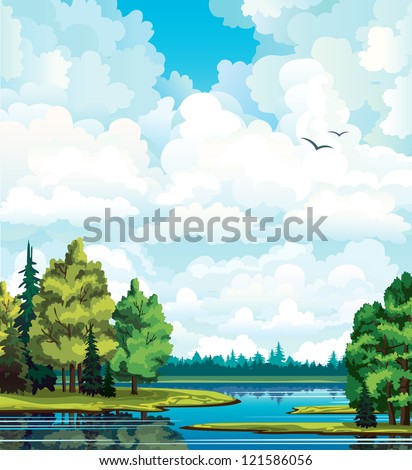 Summer green landscape with trees near the lake, forest and group of white cumulus clouds on a blue sky. - stock vector