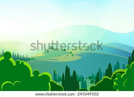 summer green mountains tree valley landscape vector illustration - stock vector