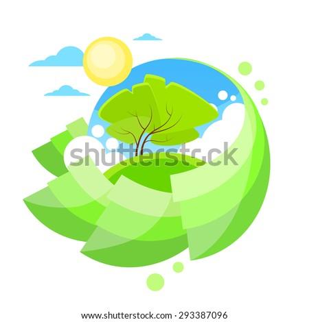 Summer Green Tree Sun Sky Circle Banner Flat Design Logo Vector Illustration - stock vector