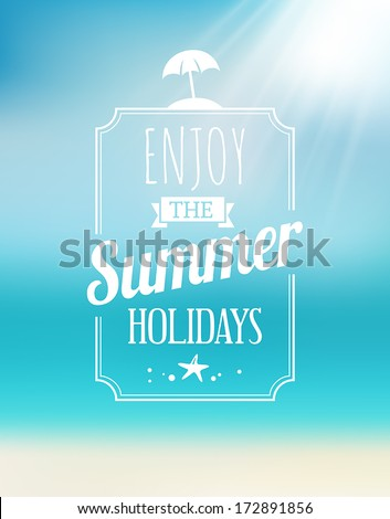 Summer greeting card with the sea and the sun. - stock vector