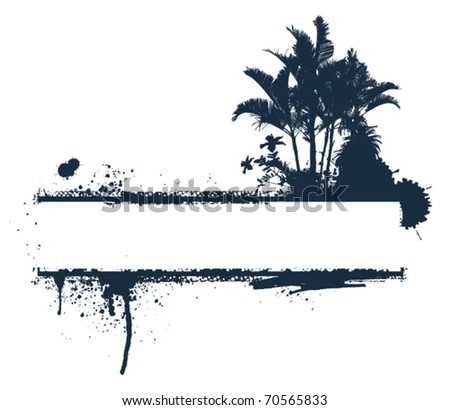 summer grunge banner with palms and hibiscus - stock vector