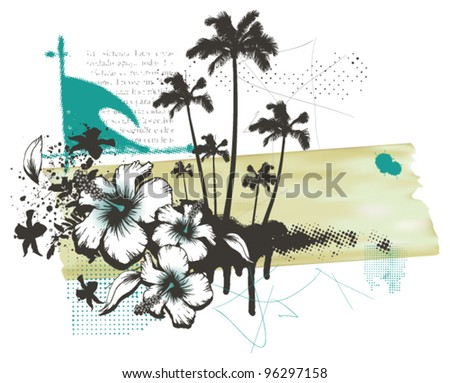 summer grunge banner with surfer table wave and palms - stock vector