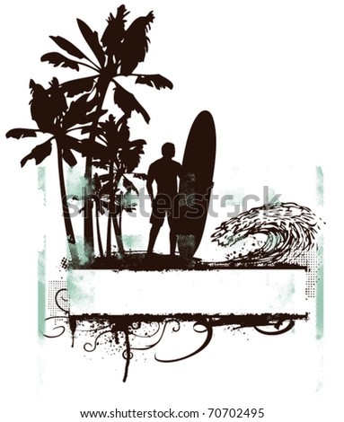 summer grunge poster with palms and waves - stock vector