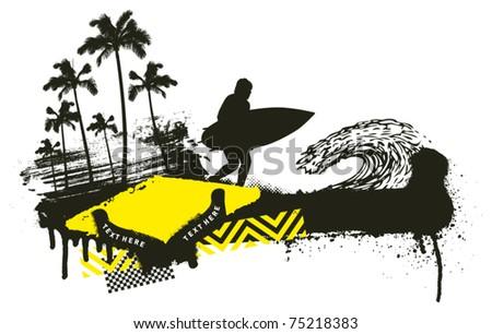 summer grunge scene with surfer running - stock vector