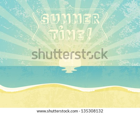 Summer grunge textured background with Summer Time banner. - stock vector