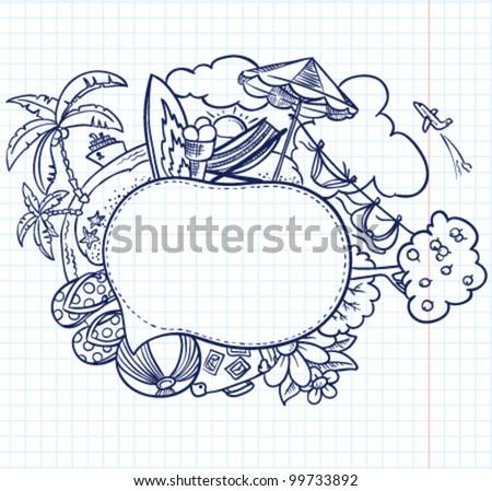 Summer hand-drawn sketch speech bubble - stock vector