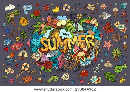 Summer hand lettering and doodles elements. Vector illustration  - stock vector