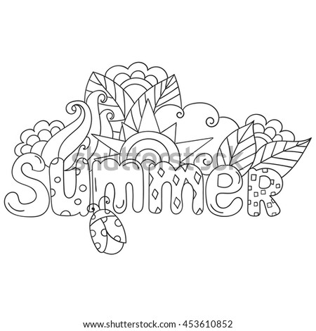 Summer Hand Lettering And Doodles Elements Vector Illustration Coloring Pages For Adults Book