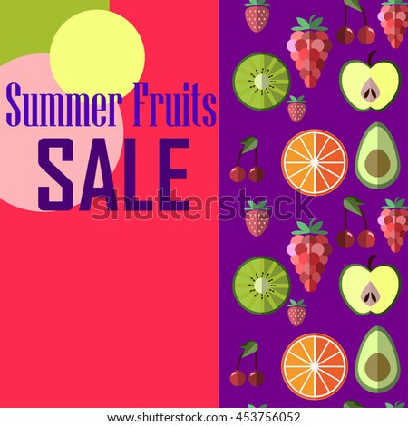 Summer healthy diet organically grown fruits and berries, colorful banners set isolated vector illustration