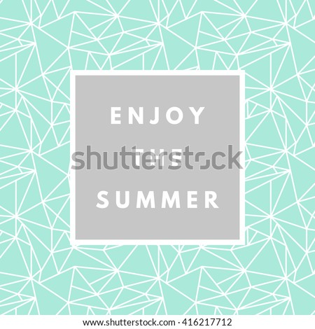 Summer hipster boho chic background with triangular geometric texture. Minimal printable journaling card, creative card, art print, minimal label design for banner, poster, flyer. - stock vector
