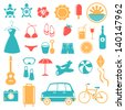 Summer, Holiday, Beach, Travel Icon Set - stock vector