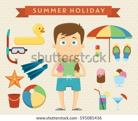 Summer holiday character design with summer objects. Vector illustration - stock vector