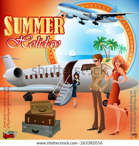 Summer Holiday design template; Young tourists preparing for journey; Exotic landscape in medallion; Suitcases and airplane ready  to go.  - stock vector
