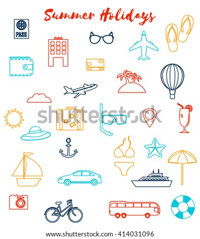 Summer holiday flat icons. Vector