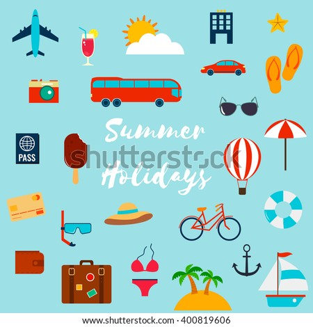 Summer holiday flat icons. Vector illustration