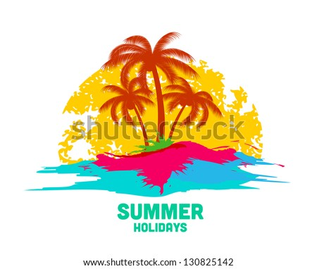 summer holiday logo with sea and palms - stock vector