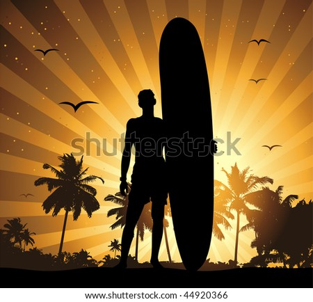 Summer holiday, man with surfboard - stock vector