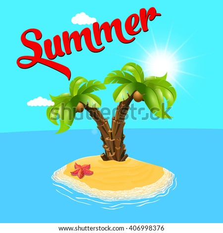 Summer holiday. Palm tree on the island. Vector, palm and the island. Relax on the beach.  Palm trees. Vector illustration. Two palm-tree on the tropical island. Sunny palm beach. Isolated background. - stock vector