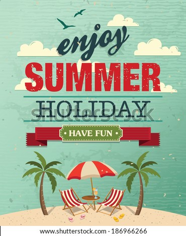 Summer Holiday poster vector background - stock vector