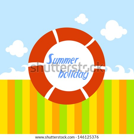 Summer holiday red float - stock vector