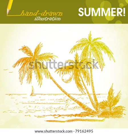 summer holiday tropical island - hand-drawn illustration